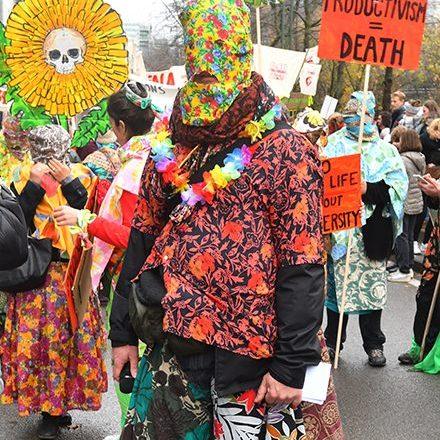 Fleurs sauvages antiproductivistes -Action lors de la marche Claim the Climate, Bruxelles, 2018.